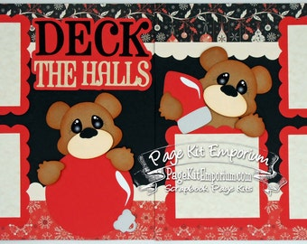 Scrapbook Page Kit Christmas Deck The Halls 2 page Scrapbook Layout Kit 071
