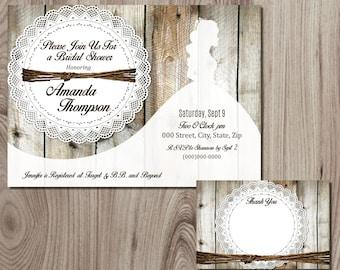 Rustic Wood Bride Silhouette  Bridal Shower Invitation DIY Printable