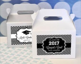 Personalized Graduation Party Favors-Graduation Party Favor Container-Mini Gable Boxes-Graduation Favor Boxes (Set of 24)