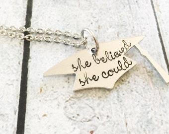 Graduation Gift - Graduation necklace - Hand stamped graduation gift - Gift for graduate - Hand stamped graduation jewelry - Graduation cap