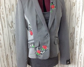 SALE SALE Ladies unique new size 14 refashioned jacket with flowers  / blazer /unusual / upcycled / embroidered / ooak 50% off