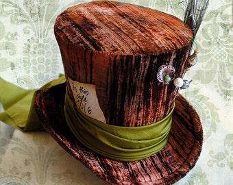 Mad Hatter Halloween Top Hat,Alice in Wonderland Costume WOMEN's Top Hat,Steampunk Tea Party Hat-Custom-Made to Order