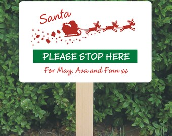 Personalised Santa Stop Here Sign - Christmas Decoration - Personalized Santa Sign - Reindeer and Sleigh Design