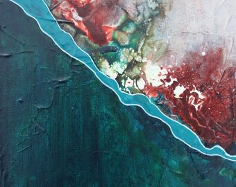 Coastline, Original Acrylic Painting, Abstract, Teal, White, Turquoise, Red, Vivid Color
