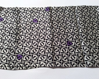 Vintage 1980s Long Silk Scarf with Black and White/Purple Chervons/Super Soft/Geometric Love