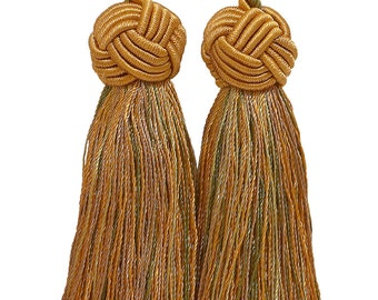 Double Tassel, Olive Gold, Tassel Tie with 3 1/2 inch Tassels, Golden Olive 1755
