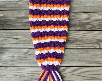 Crochet Mermaid Tail Blanket, Kids Mermaid Photo Prop