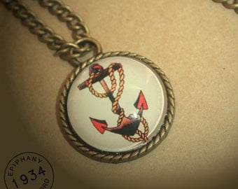 Sailor Jerry Style Anchor Necklace