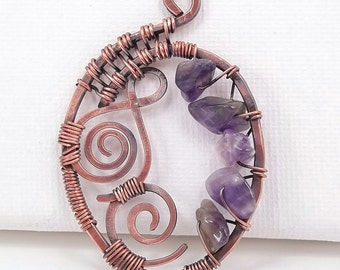 Copper Wire Wrapped Pendant-Hand Wrapped-One of a kind