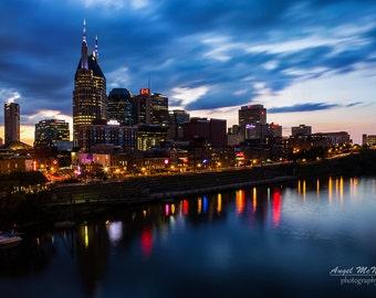Vibrant metal wall art, Nashville Skyline, Downtown Nashville, Large Metal print, night photography, Cityscape, ready to hang wall art