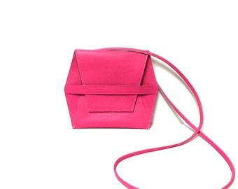 Pink crossbody bag // leather hex bag // minimal cross body bag