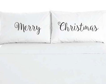 Merry Christmas Pillowcases - Holiday Bedroom Decoration - Sold as a set of 2