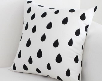Twill Cotton Fabric Black and  White Drops By The Yard