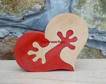 Wooden Toys Heart in the arms Wooden Puzzles Valentine gift Free shipping