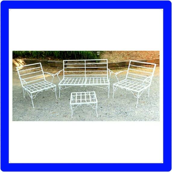 Mid Century Modern Patio Furniture White Chairs Bench Ottoman