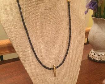 Beautiful grey quartz gemstone necklace with brushed gold charm