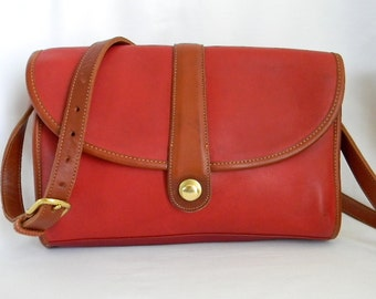 Vintage Coach Red and British Tan Spectator Roll Bag