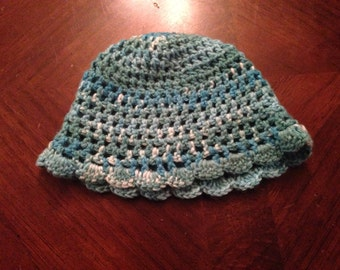 Baby blue ruffle hat