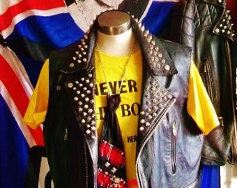 PUNK Bespoke PAINTED STUDDED Cut-off sleeveless leather Biker/Punk Rocker Jacket- Chaos Uk backpatch