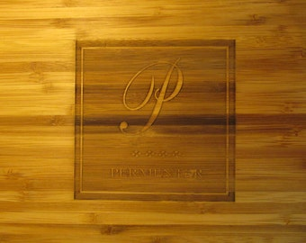 Monogrammed Bamboo Cutting Board