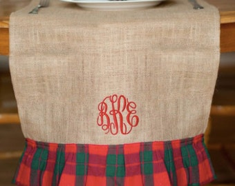 Monogrammed Wholesale Boutique Holiday Plaid Table Runner