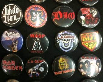 001 Glam Heavy Metal Hard Rock Southern Button, Pin, Badge