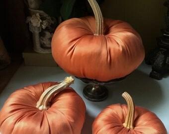 Fabric pumpkins, fall decor, dried pumpkin stems,