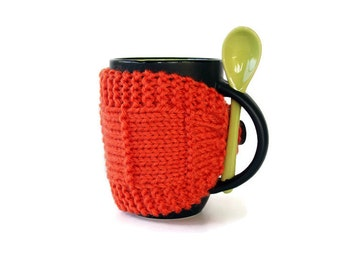 Knitted Mug Cozy - Mug Cozy - Coffee Cup Cozy - Mug Sleeve - Tea Mug Cozy - Mug Jacket - Hot Drink Cozy - Orange Cozy - Knitted Drink Sleeve