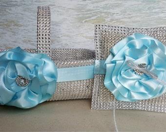 Bling Basket & Pillow - Wedding Rhinestone Diamond Crystal Flower Girl Ring Bearer flowergirl ringbearer