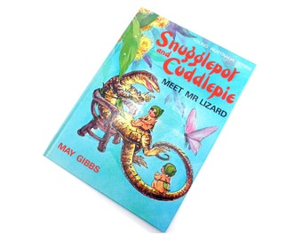 Vintage 1984 Snugglepot and Cuddlepie meet Mr Lizard, May Gibbs, Colour Illustrations, Large Print, Hardcover, 24 pages