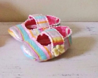 Baby girl shoes, baby mary janes, pink and yellow shoes