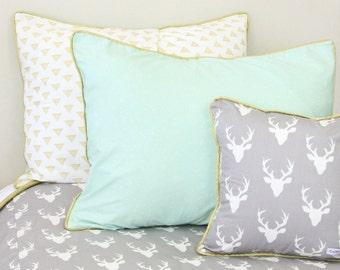 Woodlands Deer Pillow Sham | Mint and Gold Reversible Pillow Sham