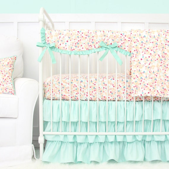 mini floral baby bedding girl crib set in coral peach and. Black Bedroom Furniture Sets. Home Design Ideas