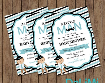 Monkey Baby Shower Invitation - Mustache Invitation - Blue invitation - Printable Invitation - Monkey Invite - Personalised - Digital File!