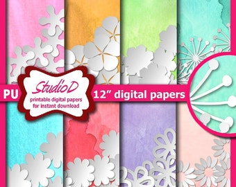 Floral digital papers, Watercolor and flowers, 12x12 paper pack, Spring and Easter scrapbook pages, Printable gift wrap for instant download