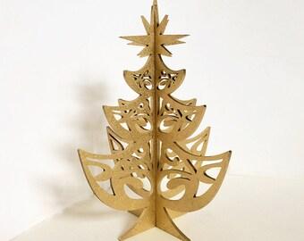 Gold Christmas Tree Decoration, Laser Cut, Handmade Christmas Present, 3D Christmas Tree