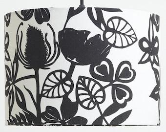 40cm Wildflowers in black - Large Lampshade