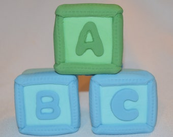 Fondant ABC Blocks cake topper, fondant baby shower cake topper