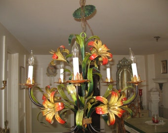 Vibrant,Vintage 5 Light Tole Tiger Lilly Chandelier in Vivid Greens,Yellow & Orange...