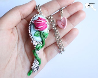 Cameo necklace with pink mirror (Beauty and the Beast).