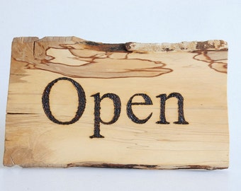 OPEN CLOSED sign,wooden sign,open closed,handmade,pyrography,burned letters