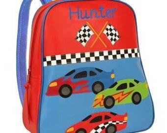 Personalized Race Car Backpack, Boys Race Car Back Pack, Preschool Race Car Backpack, Monogrammed Race Car Kindergarte backpack