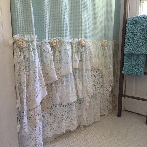 shabby cottage chic shower curtain grey lace ruffle girls