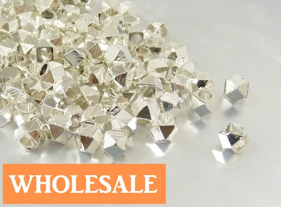 WHOLESALE 3.5mm Faceted spacer, large hole metal spacer bead, shiny silver spacer - 90+ PCS per strand