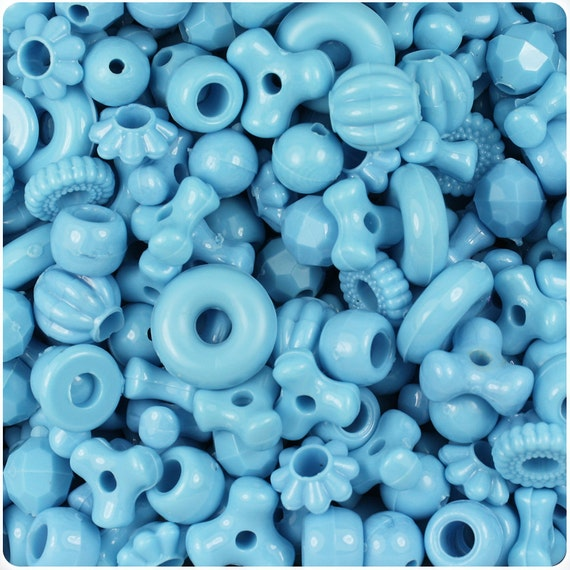 Light Baby Blue Opaque Craft Bead Mix 4oz - TriBeads, Melons, Faceted Rounds, Smooth Rounds, Barrels, Rings, Florals - Made in the USA