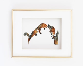 Matted 11x14 Pouncing Fox Print