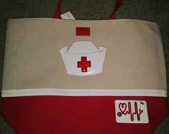 Custom Applique Embroidery Nurse Tote/Beach Bag Red