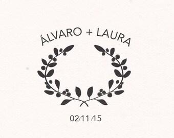 Wedding custom stamp - Mediterranean
