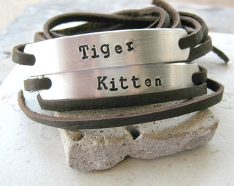 Tiger and Kitten, Set of 2 Leather Wrap Bracelets, choose leather, text, font, see charts for choices, furry fetish, furry lifestyle, F4L