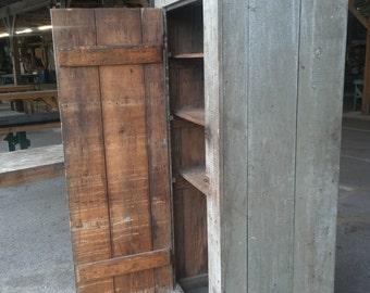 1800's Primitive New England Blue Buttermilk Painted Pantry  Cabinet